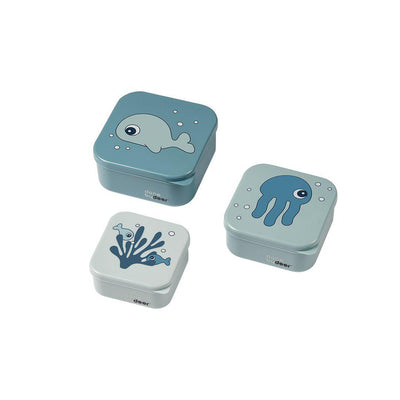 Done by Deer Snack Box Set - Sea Friends - Blue - 3pc-Food Storage-Blue- Natural Baby Shower