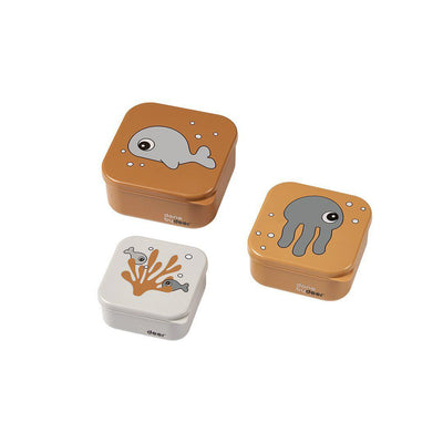 Done by Deer Snack Box Set - Sea Friends - Mustard/Grey - 3pc-Food Storage-Mustard/Grey- Natural Baby Shower