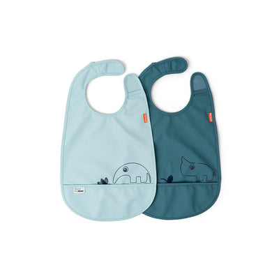 Done by Deer Velcro Bib - Deer Friends - Blue - 2 Pack-Bibs-Blue- Natural Baby Shower