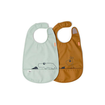 Done by Deer Velcro Bib - Deer Friends - Mustard/Green - 2 Pack-Bibs-Mustard/Green- Natural Baby Shower