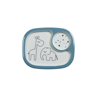 Done by Deer Yummy Mini Compartment Plate - Dreamy Dots - Blue-Bowls & Plates-Blue- Natural Baby Shower
