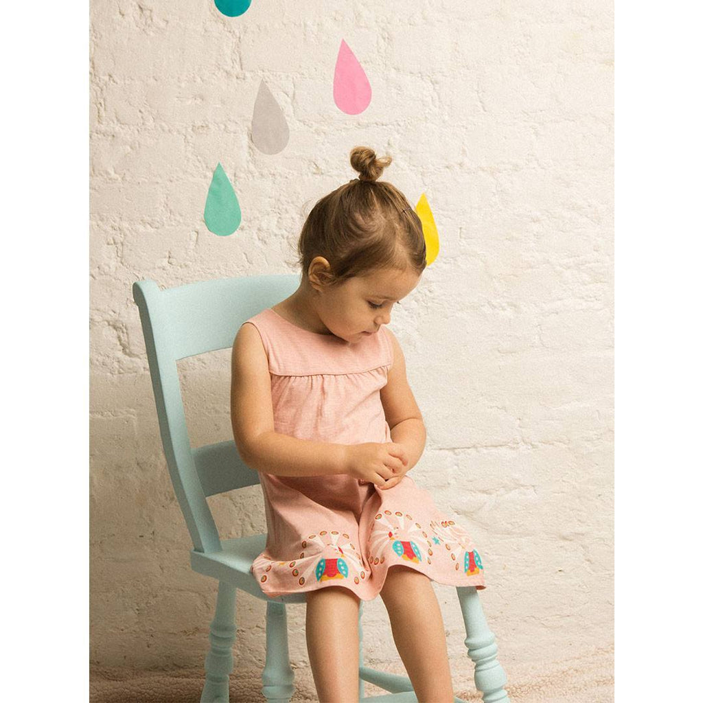 Dresses - Little Green Radicals Story Time Dress -  Pale Pink Peacock