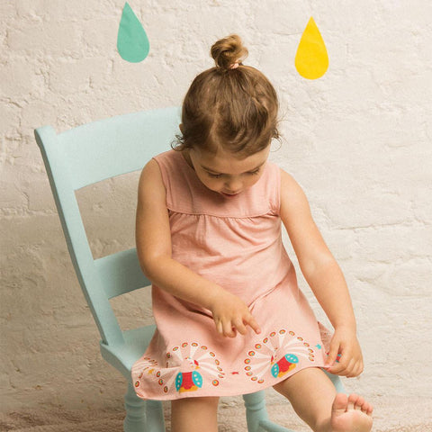 Little Green Radicals Story Time Dress -  Pale Pink Peacock - Dresses - Natural Baby Shower