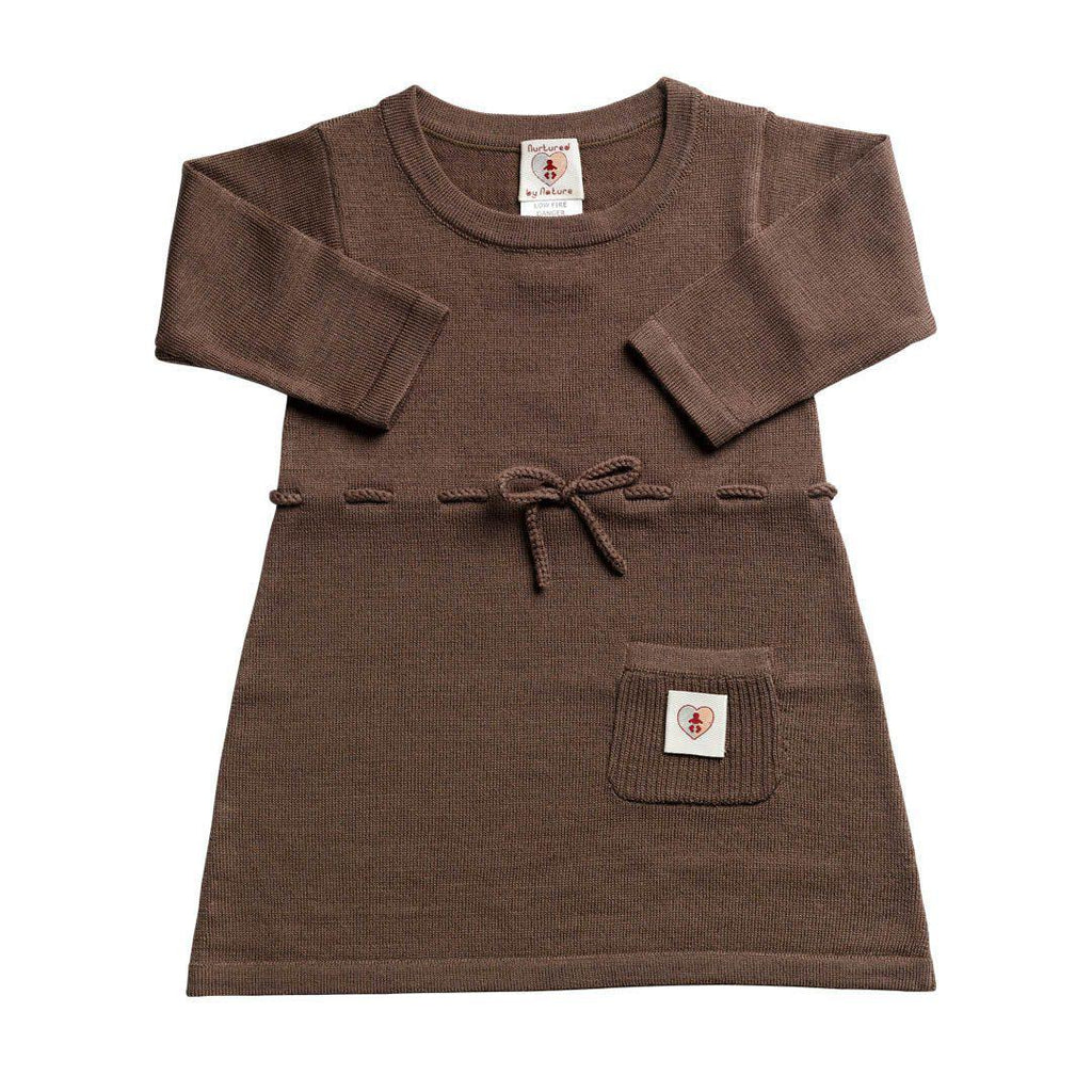Nurtured by Nature Dress - Pure Merino - Chocolate - Dresses - Natural Baby Shower