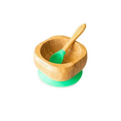 Eco Rascals Bowl + Spoon Set - Green-Bowls & Plates- Natural Baby Shower
