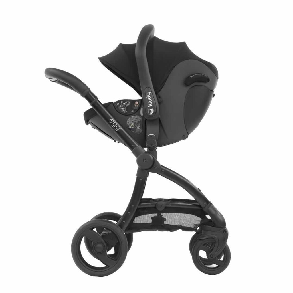egg Kiddy Evo Luna I-size Car Seat + Base in Grey + Black