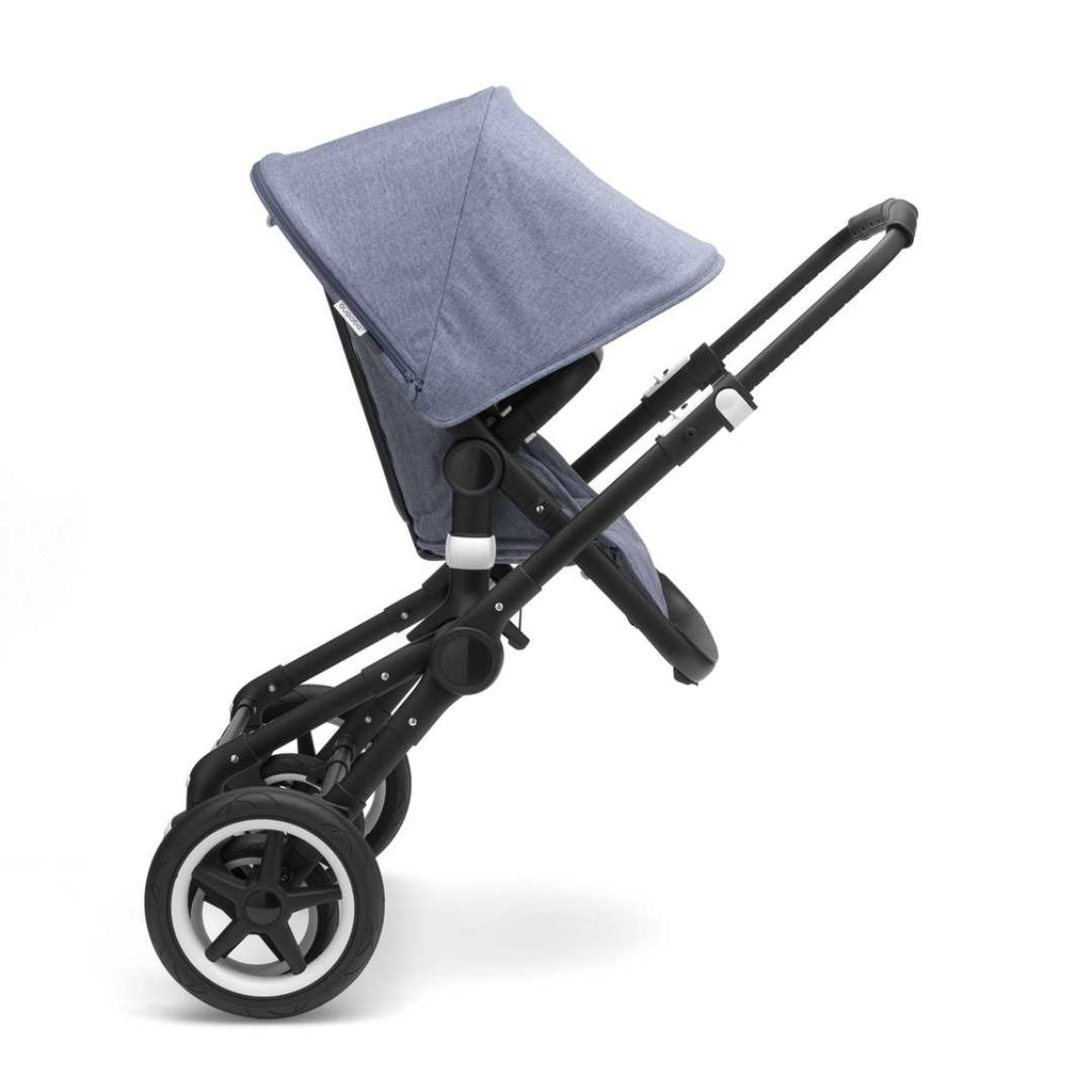 Bugaboo Fox Pushchair - Aluminium with Blue Melange Two Wheel Mode
