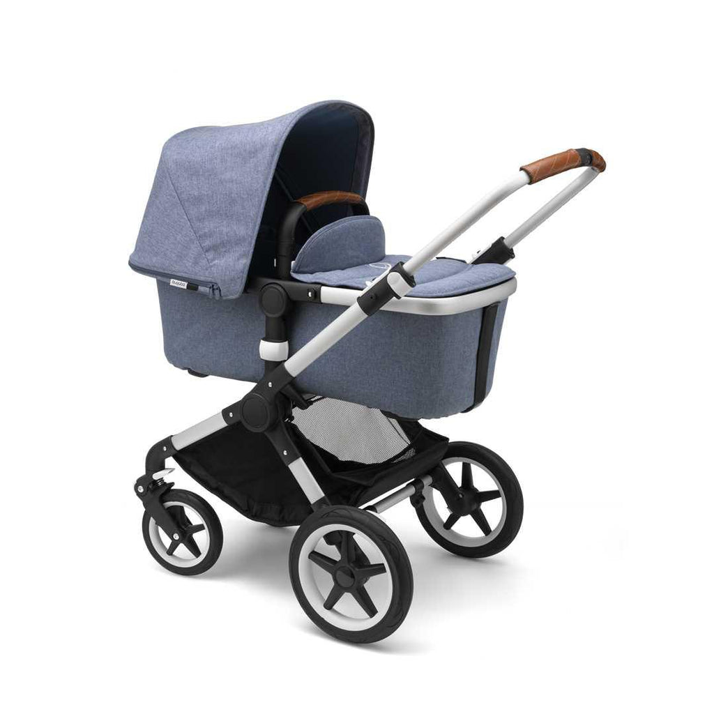 Bugaboo Fox Pushchair - Aluminium with Blue Melange Bassinet