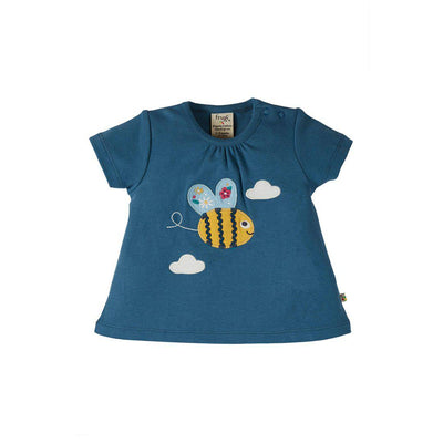Frugi Amber Applique Top - India Ink/Bee-Short Sleeves- Natural Baby Shower