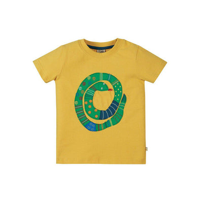 Frugi Avery Applique Top - Bumble Bee/Snake-Short Sleeves- Natural Baby Shower
