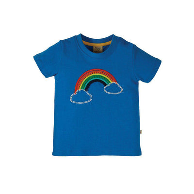 Frugi Avery Applique Top - Colbalt/Rainbow-Short Sleeves- Natural Baby Shower