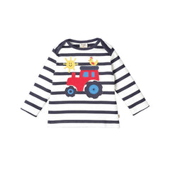 Frugi Bobby Applique Top - Navy Stripe/Tractor Front