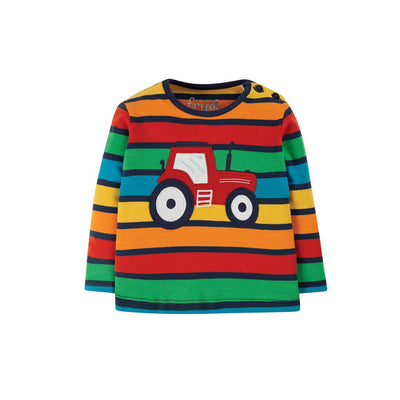 Frugi Button Applique Top - Bumble Rainbow Stripe/Tractor-Long Sleeves- Natural Baby Shower