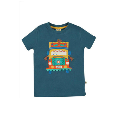 Frugi Carsen Applique T-Shirt - India Ink/Truck-Short Sleeves- Natural Baby Shower