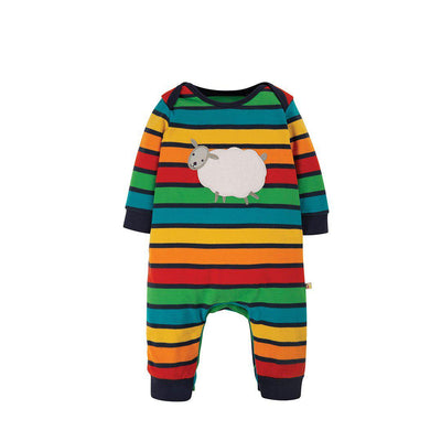Frugi Charlie Romper - Bumble Rainbow Stripe/Sheep-Rompers- Natural Baby Shower