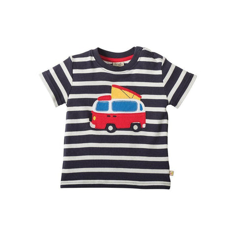 Frugi Little Fal Applique T-shirt - Navy Breton/Van Front