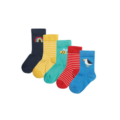Frugi Finlay Socks - Rainbow - 5 Pack-Socks- Natural Baby Shower