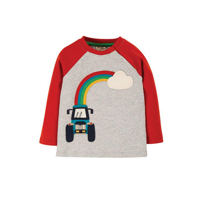 Frugi Henry Raglan Top - Grey Marl/Tractor-Long Sleeves- Natural Baby Shower