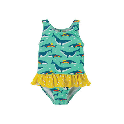 Frugi Little Coral Swimsuit - Rainbow Whales-Swimwear- Natural Baby Shower