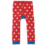 Frugi Little Knitted Leggings - Tomato Stars/Snail