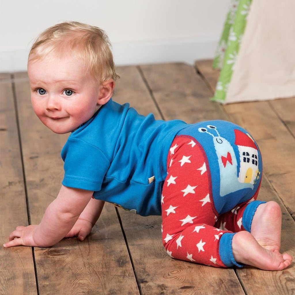 Frugi Little Knitted Leggings - Tomato Stars/Snail Lifestyle
