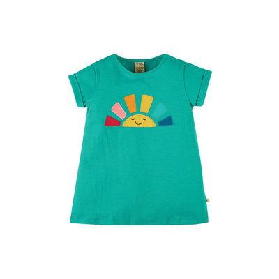 Frugi Lizzie Applique Slub Top - Jewel/Rainbow-Short Sleeves- Natural Baby Shower