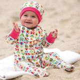 Frugi Lovely Babygrow - Soft Bumble Bloom Lifestyle