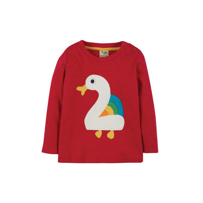Frugi Magic Number T-Shirt - Tango Red/Duck-Long Sleeves-Tango Red/Duck-2-3y- Natural Baby Shower