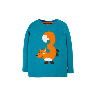 Frugi Magic Number T-Shirt - Tomermory Teal/Fox-Long Sleeves-Tomermory Teal/Fox-3-4y- Natural Baby Shower