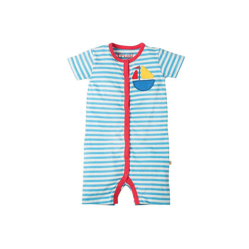 Playsuits & Rompers - Rockpool Romper - Sky Fine Stripe/Boat