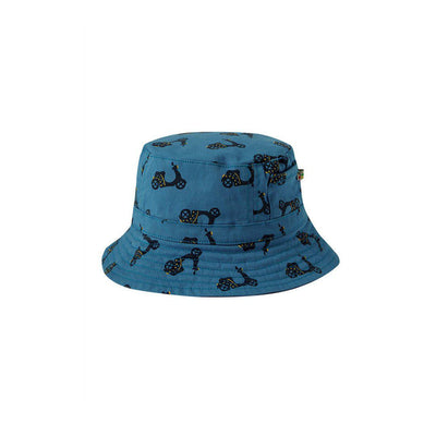 Frugi Ross Reversible Hat - Sea Blue/Bikes-Hats-Sea Blue/Bikes-2-4y- Natural Baby Shower