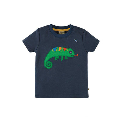 Frugi Scout Applique Top - Indigo/Chameleon-Short Sleeves- Natural Baby Shower
