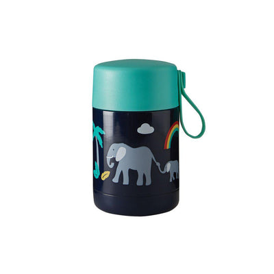 Frugi Yummy Insulated Food Flask - Indigo/Elephant-Food Storage-Indigo/Elephant- Natural Baby Shower