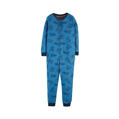 Frugi Zennor Zip Up All-in-One - Colbalt Tigers-Rompers- Natural Baby Shower