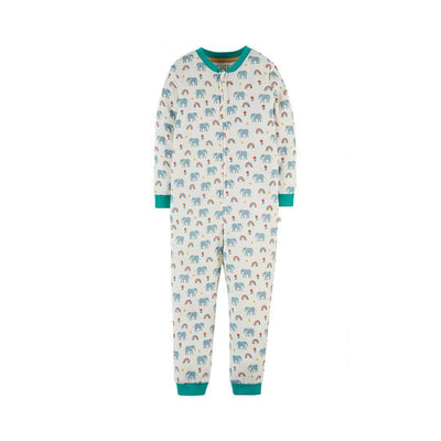 Frugi Zennor Zip Up All-in-One - Elephants-Rompers- Natural Baby Shower
