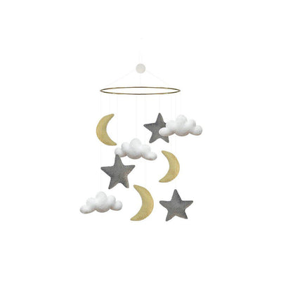 GAMCHA Mobile - Moon/Cloud/Star-Baby Mobiles- Natural Baby Shower