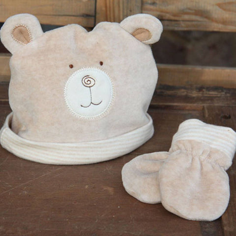 Natures Purest Hat & Mitts - Hug Me Bear - Gloves & Mittens - Natural Baby Shower