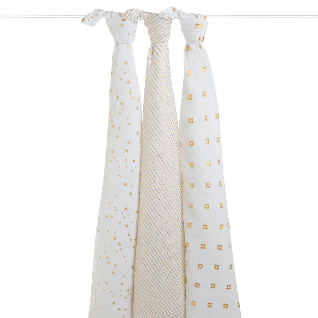 aden + anais Muslin Swaddles - Metallic Gold - 3 Pack
