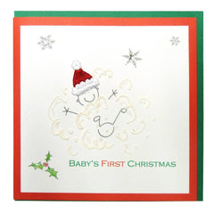Greeting Cards - White Cotton Cards Baby First Christmas Card