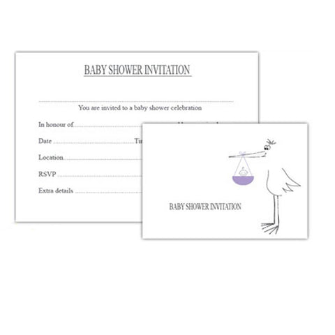 Greeting Cards - White Cotton Cards Baby Shower Invitations - 8 Pack