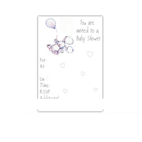 Greeting Cards - White Cotton Cards You Are Invited To A Baby Shower - 8 Pack