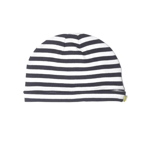Nui Organics Merino Beanie - Thermals - Black & White Stripe - Hats - Natural Baby Shower