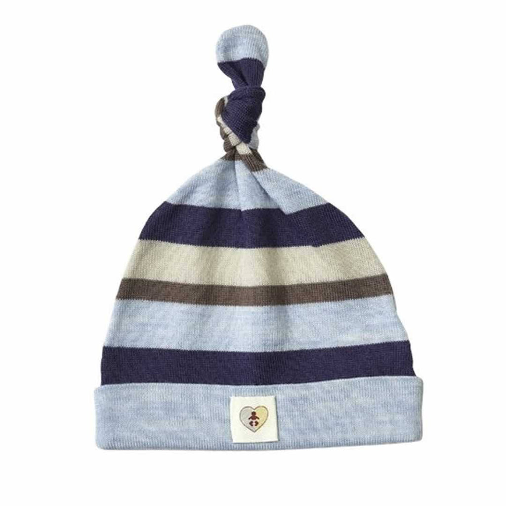 Hats - Nurtured By Nature Beanie - Pure Merino - Stripe Navy/Cornflower
