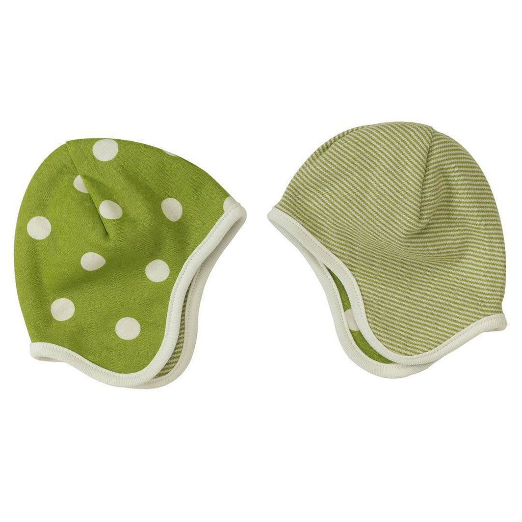 Hats - Pigeon Organics Reversible Bonnet - Spots & Stripes - Green