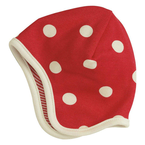 Hats - Pigeon Organics Reversible Bonnet - Spots & Stripes - Red