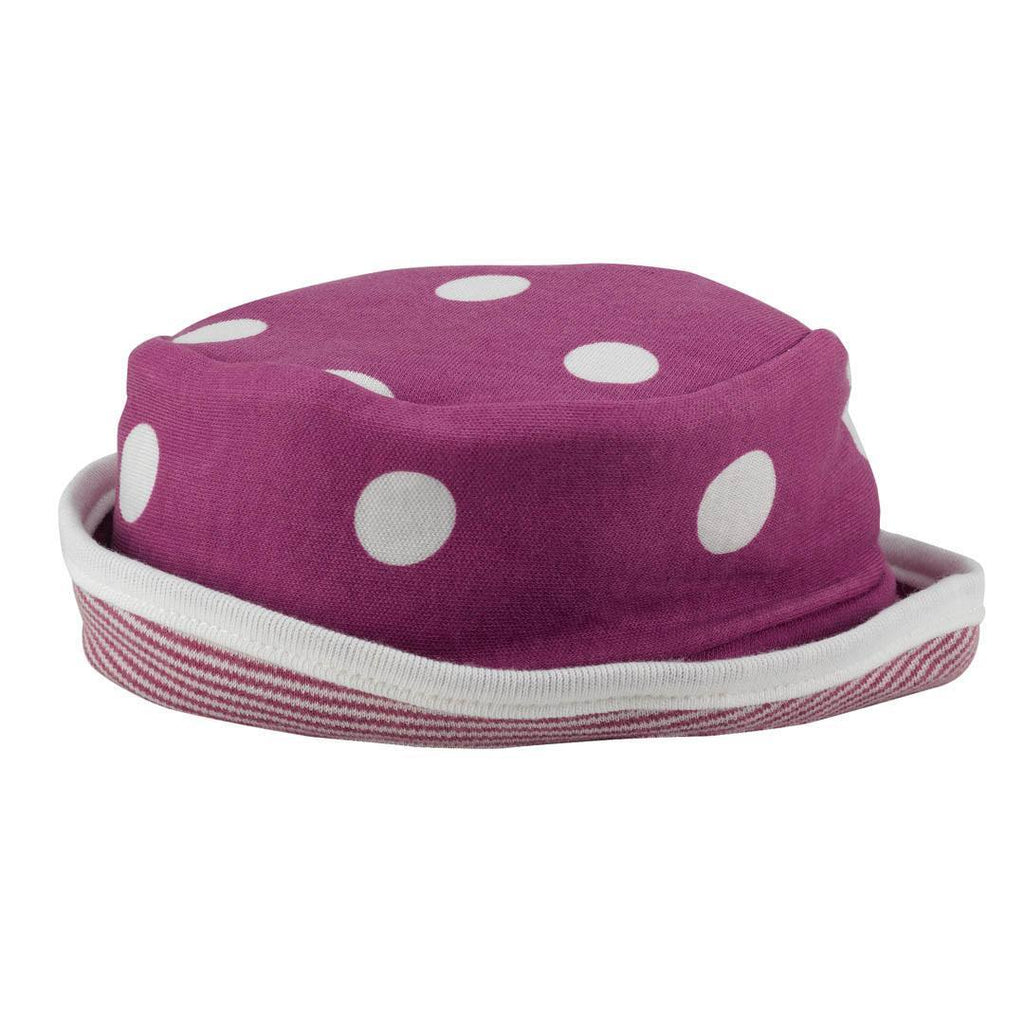 Hats - Pigeon Organics Reversible Sun Hat - Spots & Stripes - Raspberry