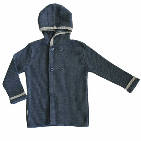 Merino Kids Hoodie - Navy with Grey Trim-Hoodies- Natural Baby Shower