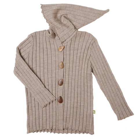Hoodies & Cardigans - Nui Organics Knitted Hooded Jacket - Knits - Bird Brown