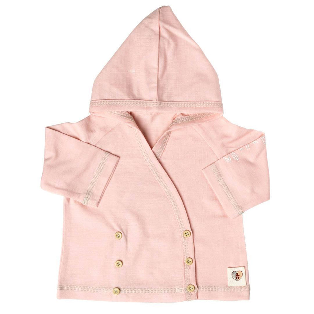 Nurtured by Nature Hooded Cardigan - Hush Merino - Coral - Hoodies & Cardigans - Natural Baby Shower