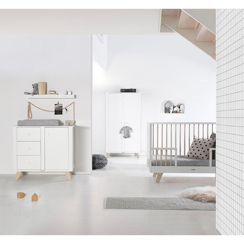 Cot Beds - Kidsmill Fynn White & Natural Cot Bed Lifestyle